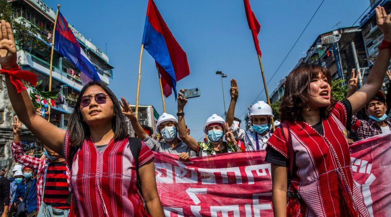 In Myanmar Protests, Girls Are on the Entrance Traces